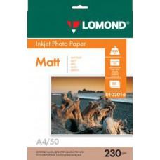 Фотобумага LOMOND Односторонняя Матовая, 230г/м2, A4 (21X29,7см) 50л. для струйной печати.