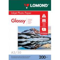 Фотобумага LOMOND Односторонняя Глянцевая, 200г/м2, A3 (29,7X42см) 50л. для струйной печати.
