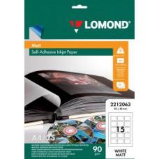 Самоклеящаяся фотобумага LOMOND, матовая, A4, 15 делен. (40 x 50 мм), 90 г/м2, 25 листов.